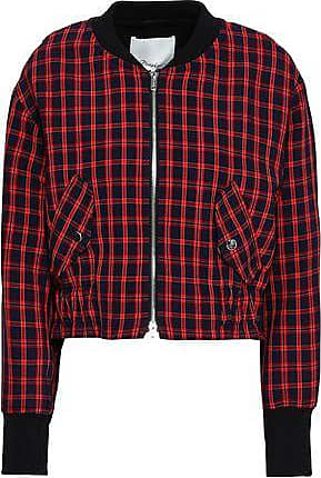 3.1 Phillip Lim 3.1 Phillip Lim Woman Checked Stretch-crepe Bomber Jacket Red Size 10