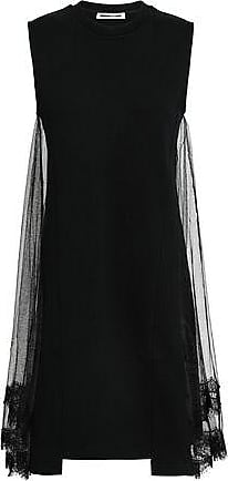 McQ by Alexander McQueen Mcq Alexander Mcqueen Woman Tulle And Cotton-jersey Mini Dress Black Size XS