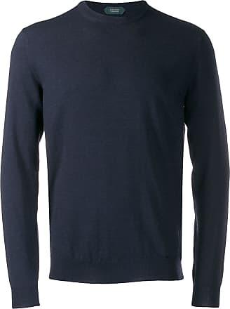 Zanone Suéter decote careca de tricô - Azul