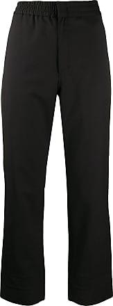 Yohji Yamamoto Calça reta com logo - Preto