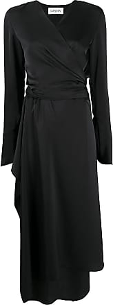 Lanvin satin wrap dress - Black