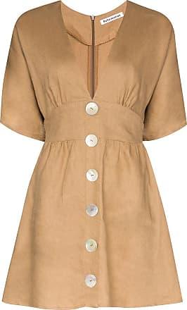 Reformation Vestido mini evasê com botões - Marrom