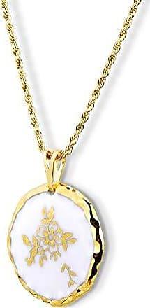 Design Medalhas Pingente Medalha Flor e Folhas Dourada Pintada à Mão com Ouro 18k