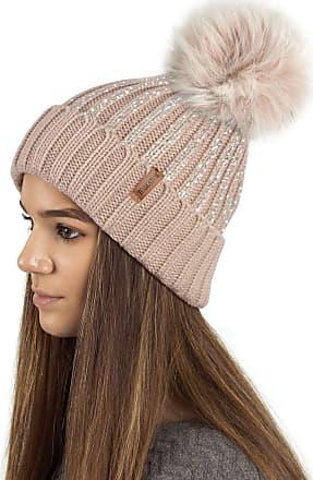 TOSKATOK Ladies Womens Girls Ribbed Knit Winter Beanie Bobble Hat with Stylish Silver Gold Metallic Foil Print & Large Faux Fur Pom Pom