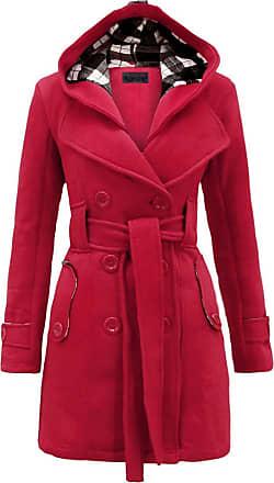 Noroze Womens Long Sleeve Belted Button Fleece Coat Size 8 10 12 14 16 18 20 22 24 26 Cerise