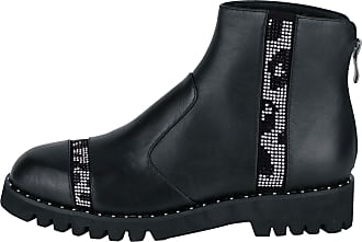Xyxyx Womens Fashion Genuine Leather Boots with Studs Gemstones Autumn Black Black Size: 4 UK