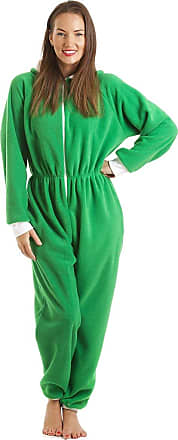 Camille Womens Green All in One Elf Hooded Pocketed Fleece Onesie 22/24