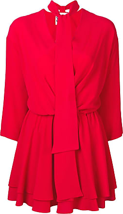 8pm tie neck short dress - Red