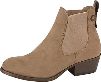Lora Dora Womens Chunky Block Heel Chelsea Boots Lilly-Rose Taupe UK 4