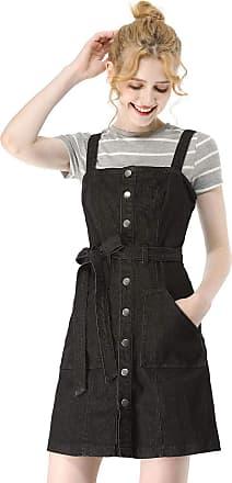 Allegra K Womens Dungaree Dress Adjustable Strap A-Line Overall Denim Dress Black 8
