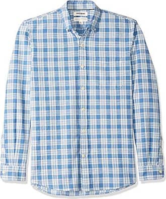 Goodthreads Mens Standard-Fit Long-Sleeve Plaid Chambray Shirt, Denim White, Large Tall