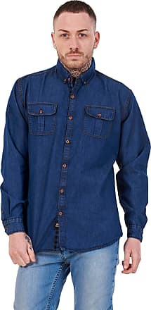JD Williams Mens Regular Denim Shirt Cotton Enzyme Powder Wash Flap Pocket Casual Top M-XXL Blue