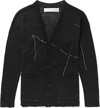 Isabel Benenato Slim-fit Embroidered Linen Cardigan - Black