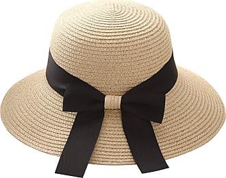 Yidarton Womens Summer Sun Hat Floppy Wide Brim Foldable Bowknot Outdoor Beach Straw Hat UPF50+ (1-Beige)