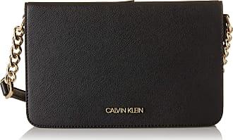Calvin Klein Womens Hayden Saffiano Organizational Crossbody Cross Body, Black/Gold, One Size