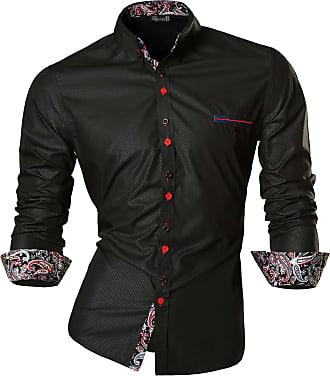 Jeansian Mens Fashion Long Sleeves Slim Fit Dress Shirts Casual Shirt Tops Z027 Black XXL