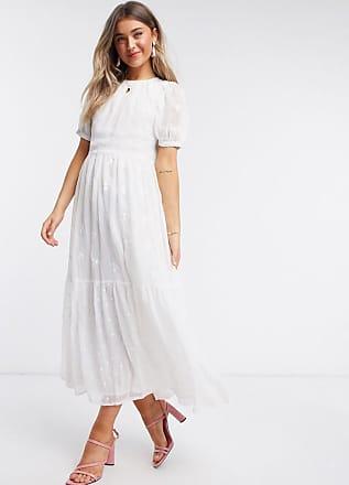 Asos Lange jurk van gemixt boorduurwerk met open achterkant in wit