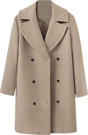 NPRADLA Women Ladies Winter Lapel Slim Long Coat Jacket Parka Outwear Wool Overcoat (XL/UK 12, ZZ-Khaki)