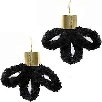 Tinna Jewelry Brinco Dourado Veludo Flor (Preto)