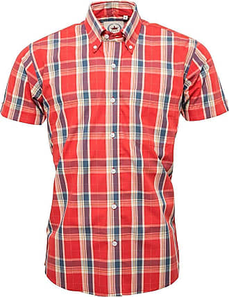 Relco Mens Red Orange Check Short Sleeve Shirt with Button Down Collar Mod Tartan Retro - Medium