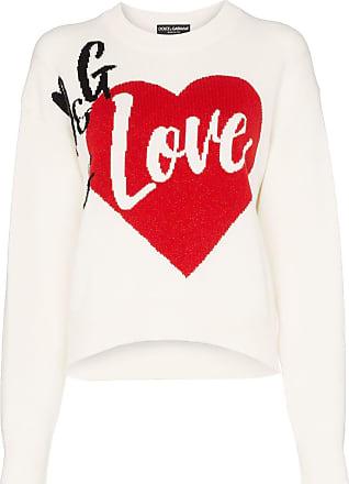 a2a67c0a6cc5a5 Dolce & Gabbana D&G Is Love cashmere blend intarsia knit sweater - White