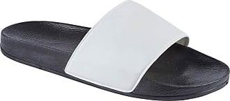 Foster Shoes Mens Beach Pool Sliders Stripe Flip Flops Slip On Mules Shower Sandals Summer Holiday Shoes Size 6-12 (10 UK, White/Black)
