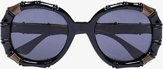 Gucci Womens Black Bamboo Round-frame Sunglasses