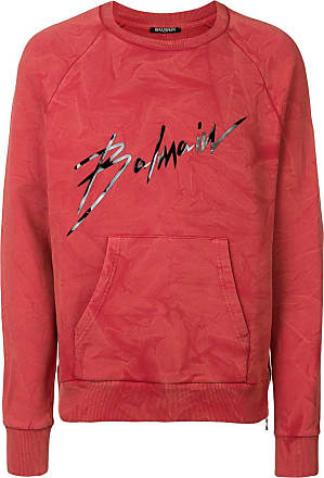 Balmain signature print sweatshirt - Red