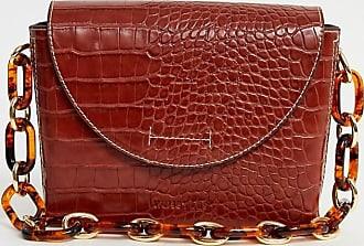 Whistles resin chain moc croc satchel bag-Red