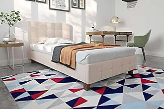 Dorel Home Products DHP Rose Linen Upholstered Platform Bed, Tan, Twin