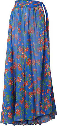 Caroline Constas Hera Printed Cotton And Silk-blend Voile Maxi Skirt - Bright blue