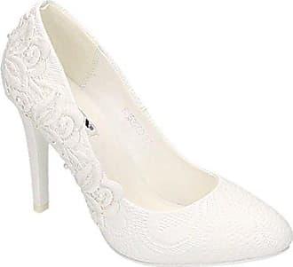 a26a1b308bf1 King Of Shoes Damen Brautschuhe Hochzeit Pumps Weiß Strass Nieten Stilettos  Elegant High Heels Plateau Abend