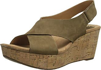 Clarks Womens Caslynn Shae Wedge Sandal, Khaki, 11 M US