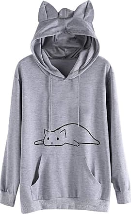 JERFER Womens Fashion Winter Long-Sleeved Round Neck Cat Print Sweater Blouse Hoodie