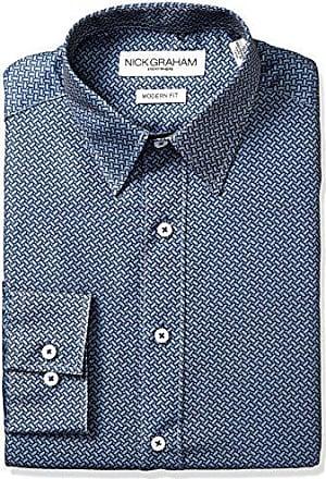 Nick Graham Everywhere Mens Elliptical Dot Print Dress Shirt, Grey, 15.5 Neck 34-35 Sleeve