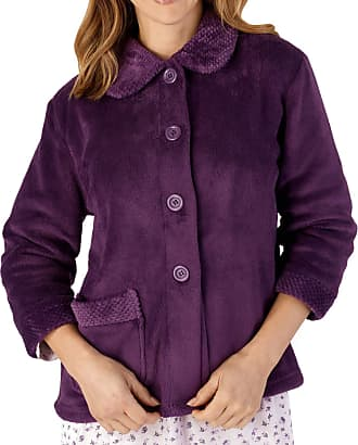 Slenderella Womens Button Up Coral Fleece Bed Jacket Housecoat with Waffle Detail - Medium (Plum)