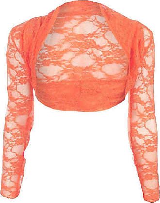 Top Fashion18 Womens Long Sleeve Lace Floral Ladies Cropped Short Shrug Bolero Cardigan Top 8-22 Coral