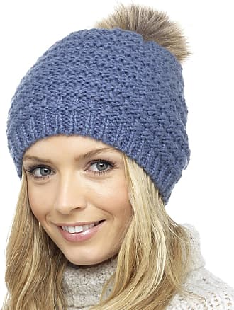 Foxbury Ladies Knitted Slouch Beanie Bobble Hat with Faux Fur Pom Pom One Size Blue
