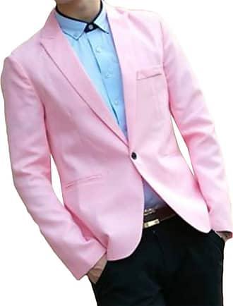 H&E Mens Solid Color Stylish Coat Notched Lapel One Button Blazer Jacket Pink M
