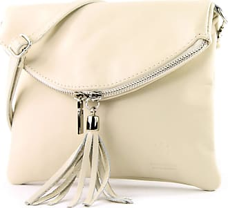modamoda.de Ital. Leather Clutch Shoulder Bag Underarm Shoulder Bag Girl Small Nappa Leather T139, Colour:T139 cream