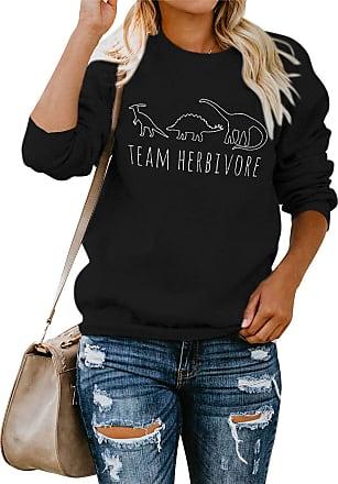 Dresswel YUHX Women Team Herbivore Dinosaur Sweatshirt Long Sleeve Crew Neck Animal Print Pullover Saying Top (US XL, Black)