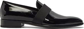 Santoni Moore Patent-leather Loafers - Mens - Black