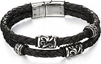 Acotis Limited Fred Bennett Stainless Steel Black Leather Tribl Detail Bracelet B4980