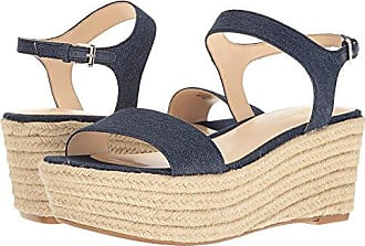 Nine West Womens Flownder Denim Wedge Sandal Blue 10.5 M US