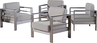 BEST SELLING HOME Cape Coral Outdoor Aluminum Club Chairs - Set of 4 Silver - 304359