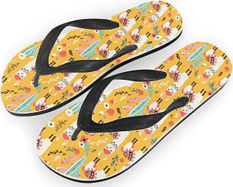 Coloranimal Womens Summer Beach Flip Flops Shoes Home Slippers Funny Llama Cactus Printed Elastic T Strap Garden Clogs