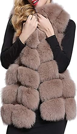Damen Fellweste Jacke Weste Kunstfell Plüschweste Mantel Flauschige P6010