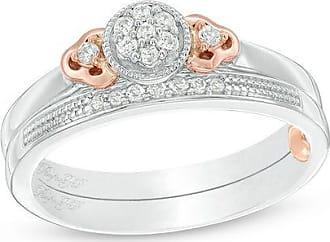 Zales 1/8 CT. T.w. Composite Diamond Flower-Sides Interlocking Bridal Set in 10K Two-Tone Gold
