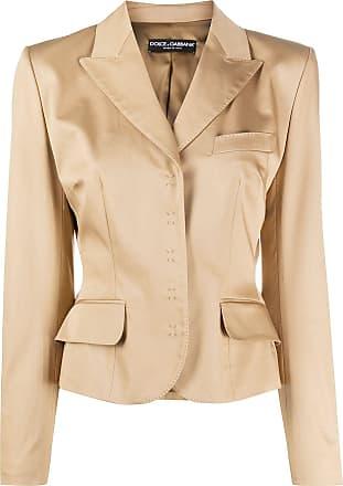 Dolce & Gabbana Blazer cropped com fechamento oculto - Neutro