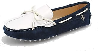 MGM-Joymod Womens Casual Comfortable Dark Blue Suede Leather Bowknot Driving Outdoor Walking Weekend Loafers Flats Boat Shoes 4.5 M UK